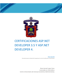 Certificaciones ASP.net developer 3.5 y asp.net developer 4.