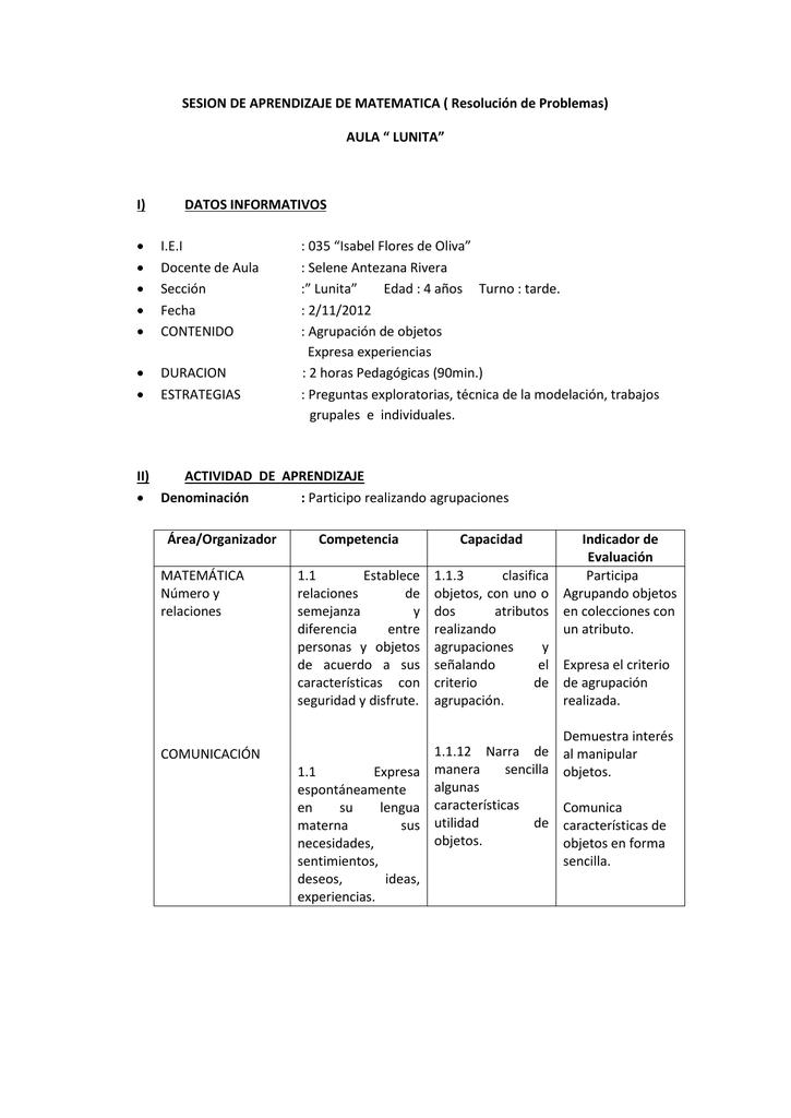 SESION DE APRENDIZAJE DE MATEMATICA ( Resolución de