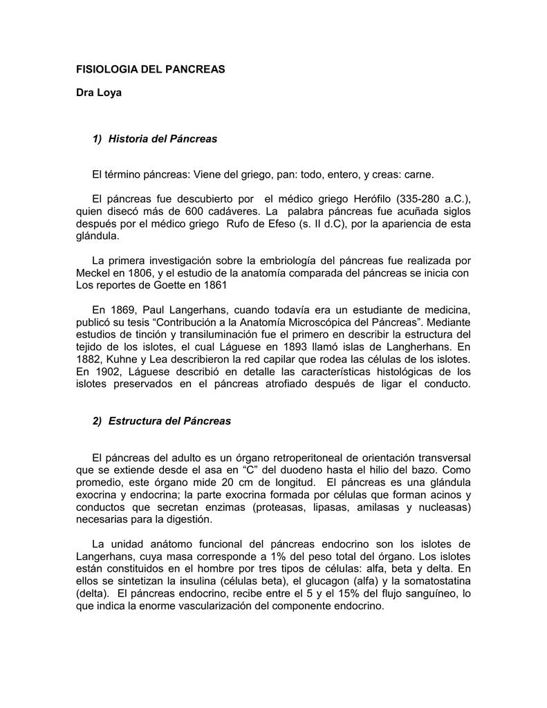FISIOLOGIA DEL PANCREAS Dra Loya Historia del Páncreas El