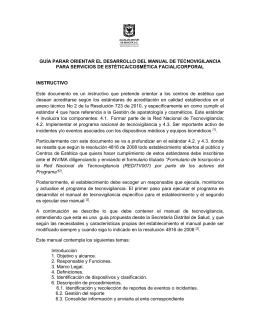 Instructivo Manual Tecnovigilancia 2015