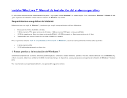 Instalar Windows 7. Manual de instalación del sistema operativo  