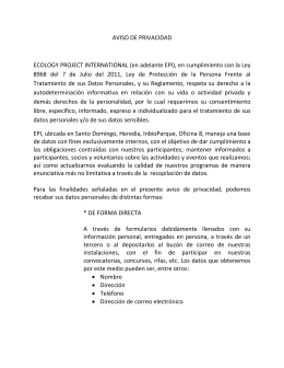 Aviso De Privacidad - Ecology Project International