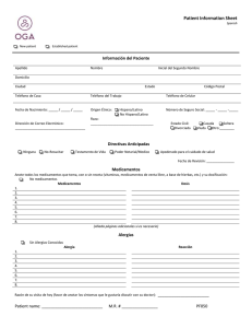 Patient Information Sheet Spanish New patient Established patient
