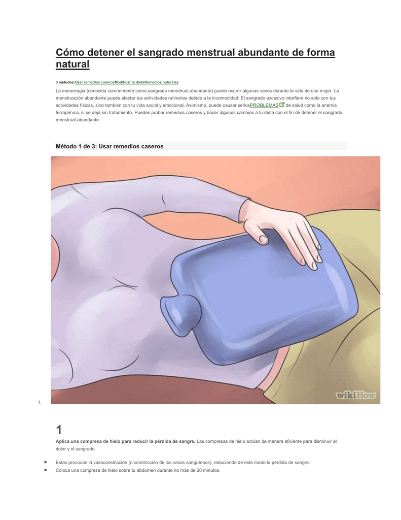 Remedios para parar el sangrado menstrual