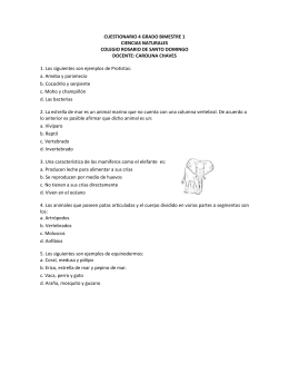 CUESTIONARIO 4 GRADO BIMESTRE 1 CIENCIAS NATURALES
