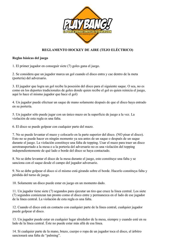 REGLAMENTO HOCKEY DE AIRE (TEJO ELÉCTRICO) Reglas