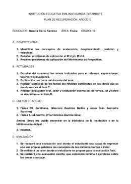 INSTITUCIÓN EDUCATIVA EMILIANO GARCÍA. GIRARDOTA PLAN DE RECUPERACIÓN. AÑO 2010