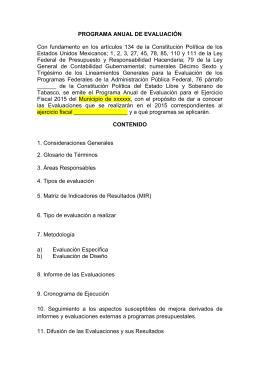 PAEM para el ejercicio 2015 - consejo estatal de evaluacion