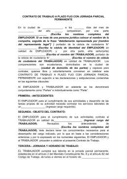Contrato de trabajo a plazo indefinido for Modelo contrato indefinido