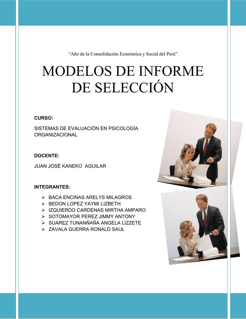 MODELOS DE INFORME DE SELECCIÓN