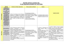 matriz articuladora del plan arquidiocesano de pastoral