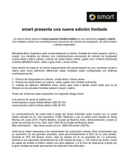 Ficha técnica Smart Passion Limited Edition