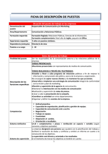 Responsable de Comunicación y/o Marketing