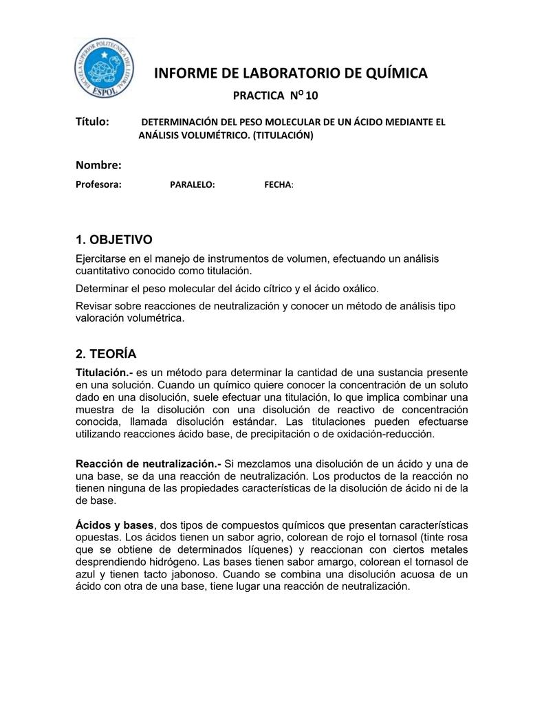 informe 10 de laboratorio de química