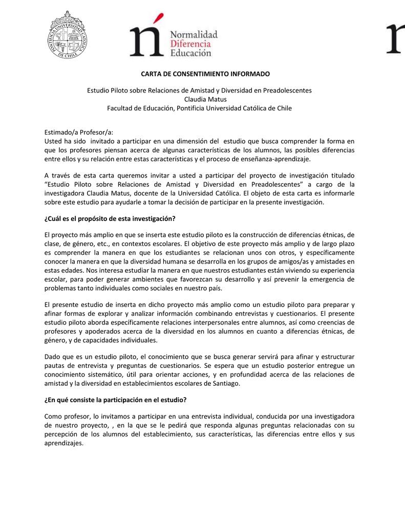 Carta de consentimiento informado profesores