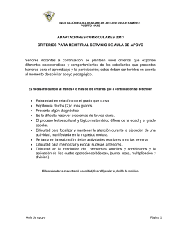 ADAPTACIONES CURRICULARES 2013