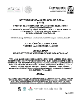 Convocatoria  INSTITUTO MEXICANO DEL SEGURO SOCIAL (IMSS)