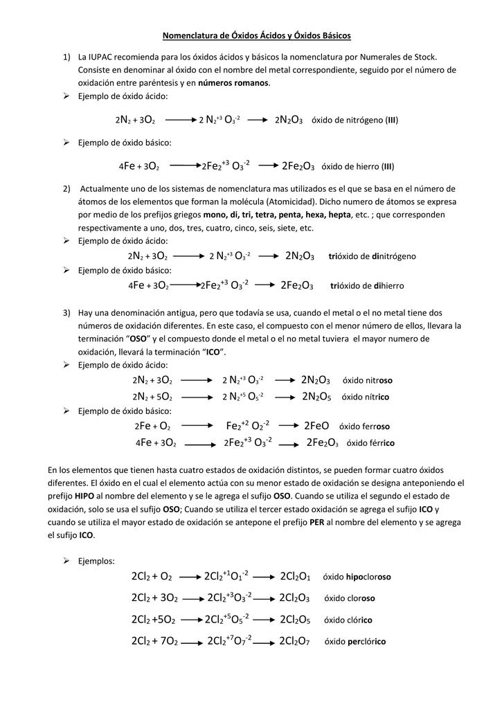 Nomenclatura De óxidos ácidos Y óxidos Básicos La Iupac