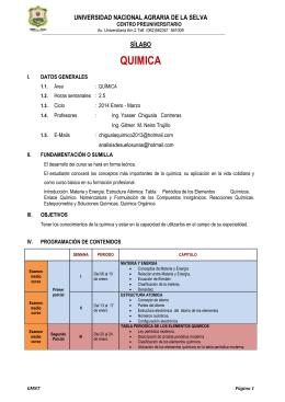 QUIMICA  UNIVERSIDAD NACIONAL AGRARIA DE LA SELVA SÍLABO