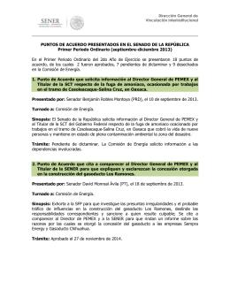 PUNTOS DE ACUERDO PRESENTADOS EN EL SENADO DE LA REPÚBLICA
