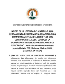 NOTAS DE LA LECTURA DEL CAPÍTULO 5 (LA