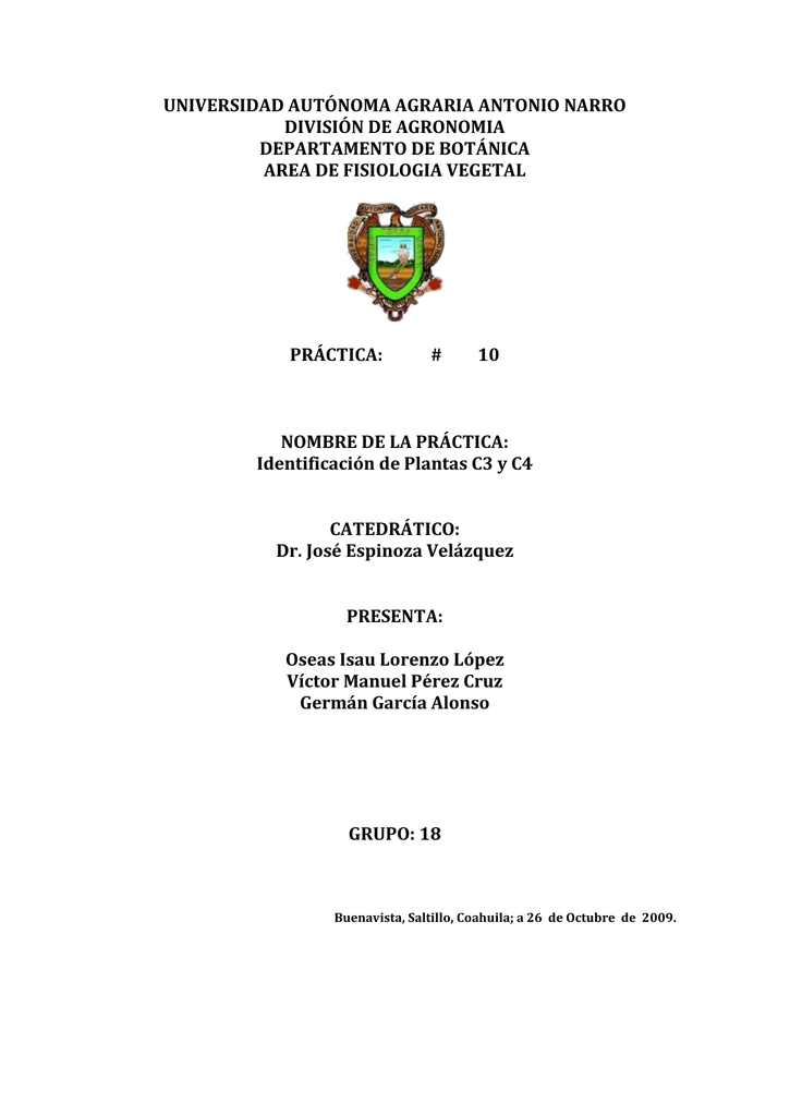 Identificación de Plantas C3 y C4 CATEDRÁTICO