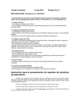 Instructivo para la presentación de reportes de prácticas de laboratorio