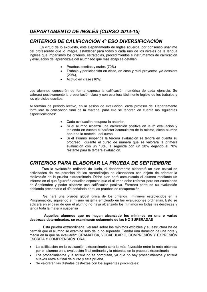 2a58ae07a39 DEPARTAMENTO DE INGLÉS (CURSO 2014-15) CRITERIOS DE CALIFICACIÓN 4º ESO  DIVERSIFICACIÓN En virtud de lo expuesto