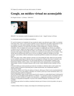 Google, un médico virtual no aconsejable