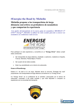 Energise the Road by Michelin Michelin propone a los transportistas