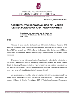 GANAN POLITÉCNICOS CONCURSO DEL MOLINA CENTER FOR ENERGY AND THE ENVIRONMENT
