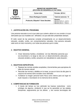 BIENESTAR UNIVERSITARIO JEFATURA DE DESARROLLO CULTURAL Curso Libre Periodo: 2015-2