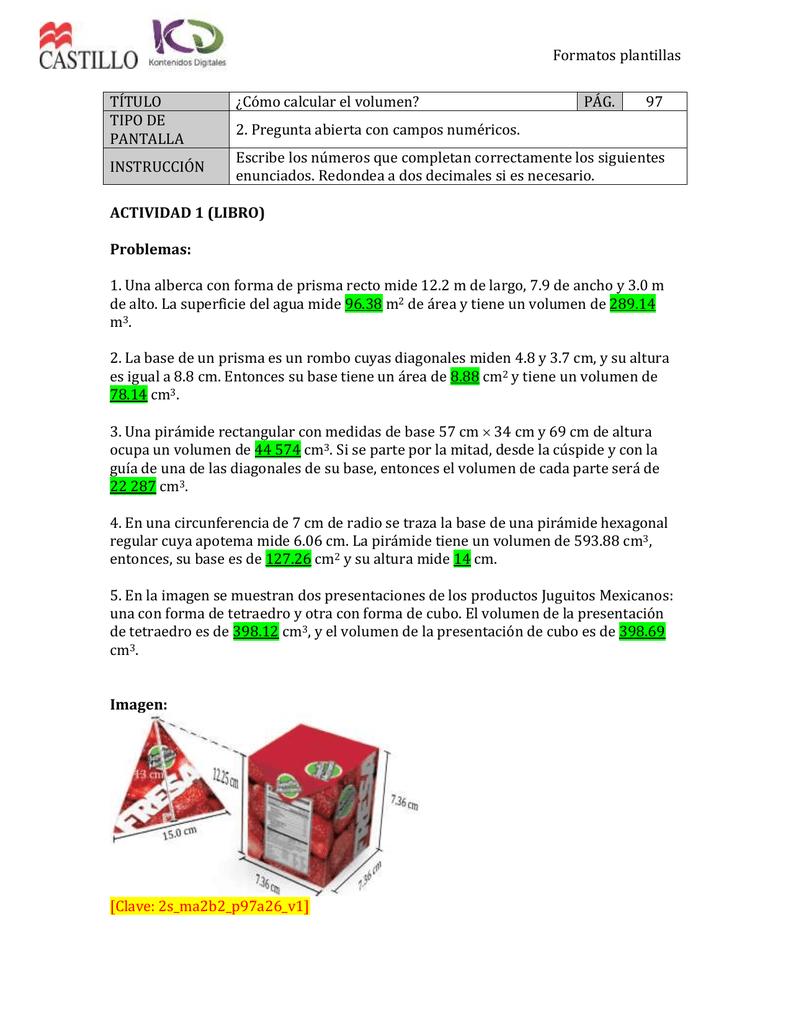 Formatos plantillas TÍTULO ¿Cómo calcular el volumen? PÁG. 97