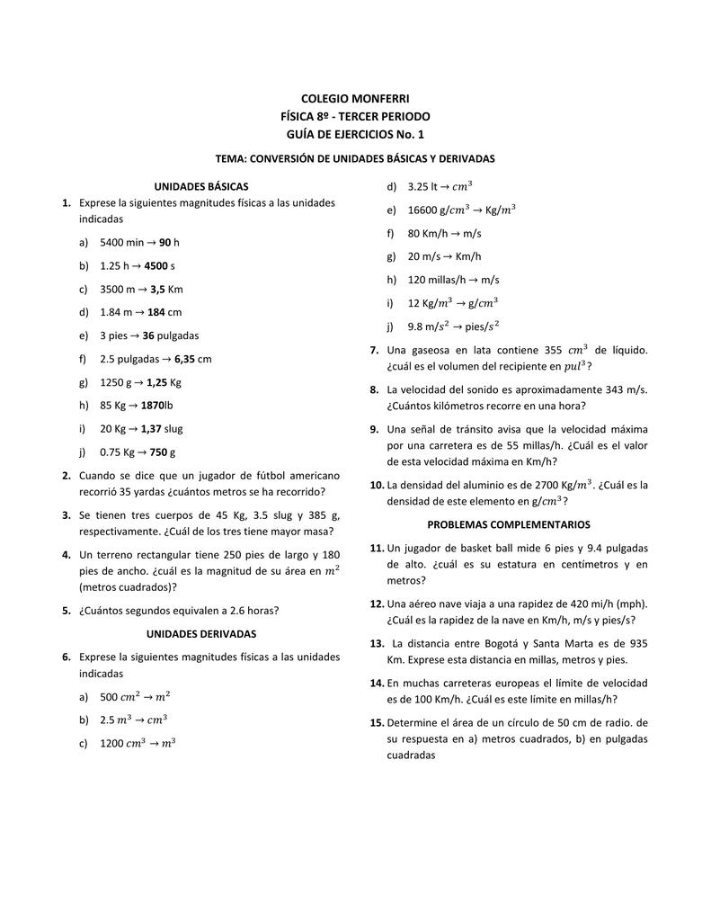 Colegio Monferri Física 8º Tercer Periodo Guía De