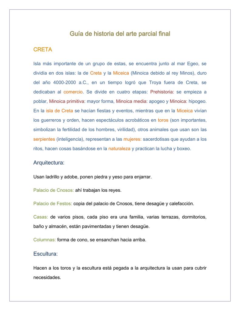 Guía de historia del arte parcial final CRETA