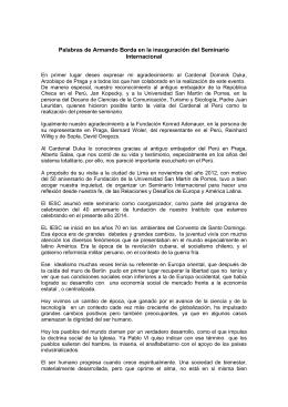 Palabras de Armando Borda en la inauguración del Seminario