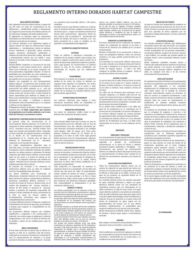 Reglamento Interno Dorados Habitat Campestre