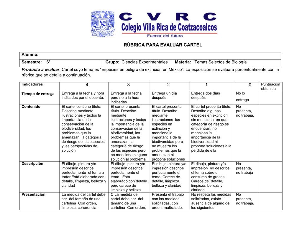 Rúbrica Para Evaluar Cartel Alumno Semestre 6 Grupo