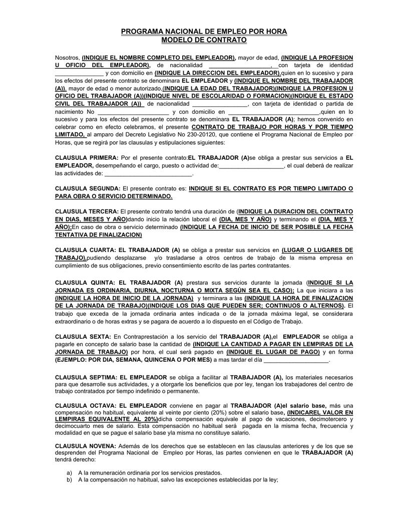 Modelo De Contrato De Trabajo Secretaria De Trabajo Y Seguridad