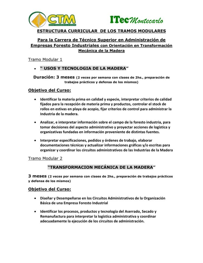 Montecarlo Estructura Curricular De Los Tramos