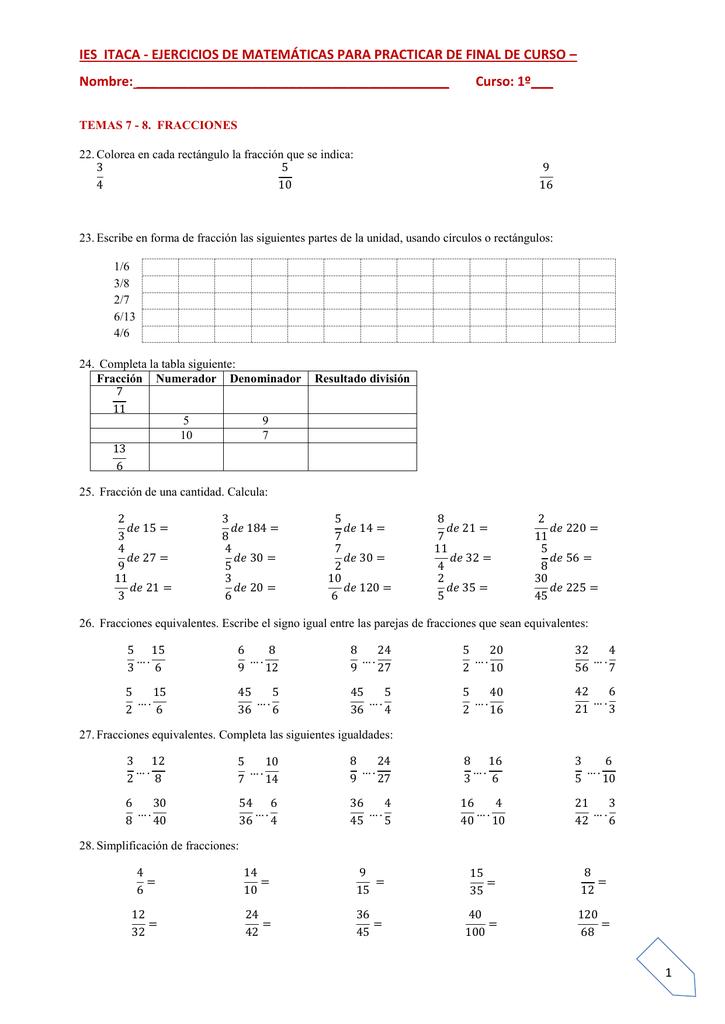 Ies Itaca Ejercicios De Matemáticas Para Practicar