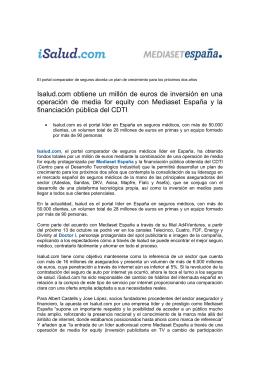 Operación media for equity de Isalud.com y Mediaset España