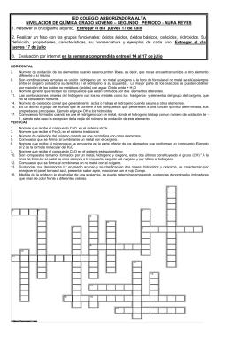 IED COLEGIO ARBORIZADORA ALTA NIVELACION DE QUÍMICA GRADO NOVENO