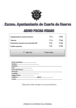 Hoja Inscripción - Ayuntamiento de Cuarte de Huerva