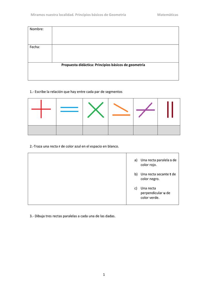 ejercicios de rectas paralelas secantes y perpendiculares para primaria