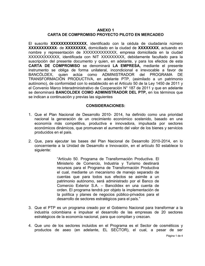 ANEXO 1 CARTA DE COMPROMISO PROYECTO PILOTO EN