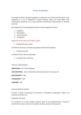 ESTUDIO DE MERCADEO El mercado se divide en grupos