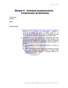 Bloque A Actividad Complementaria Fundamentos de Marketing Instrucciones: