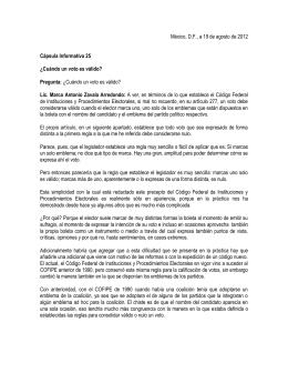 México, D.F., a 19 de agosto de 2012  Cápsula Informativa 25