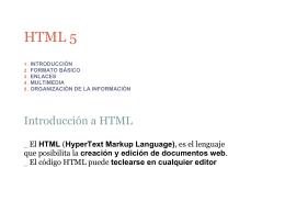 HTML 5  Introducción a HTML HTML